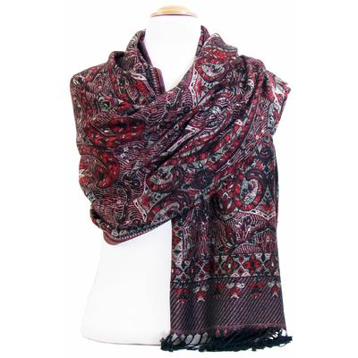 Etole pashmina rouge bordeaux motifs baroques
