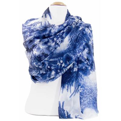 Etole en soie bleu marine agathe