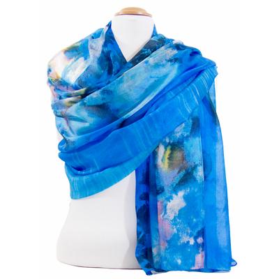 Etole en soie bleu azur romane