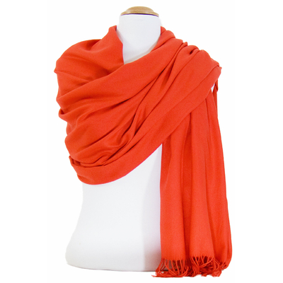 Etole cachemire laine orange Charlie