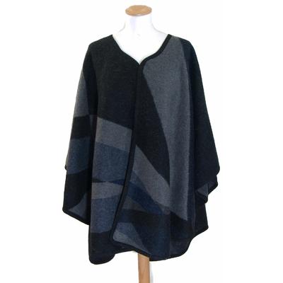 Poncho laine marine patchwork Anna