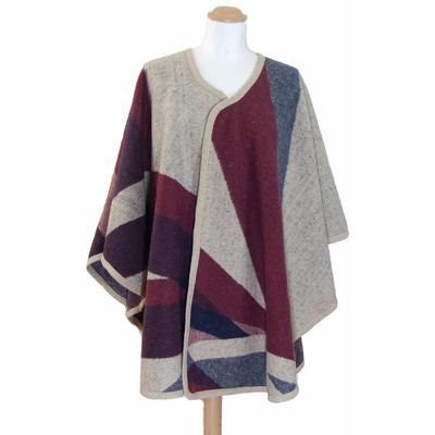 Poncho laine bordeaux patchwork Anna