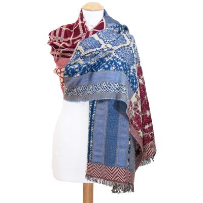 Châle laine bordeaux patchwork Amaya