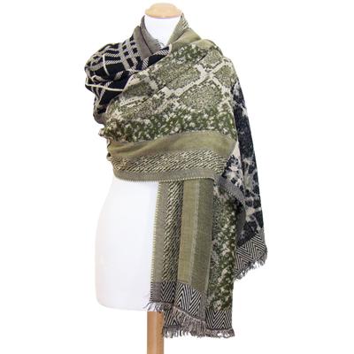 Châle laine vert patchwork Amaya