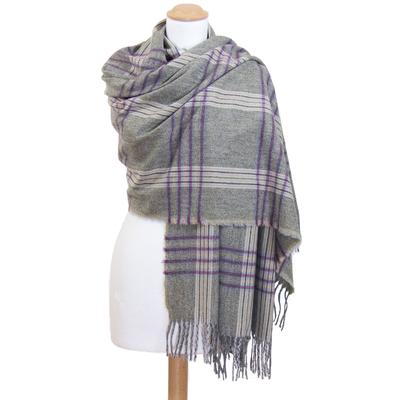 Châle laine gris bordeaux tartan Kessy
