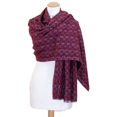 Châle laine rouge bordeaux Inés