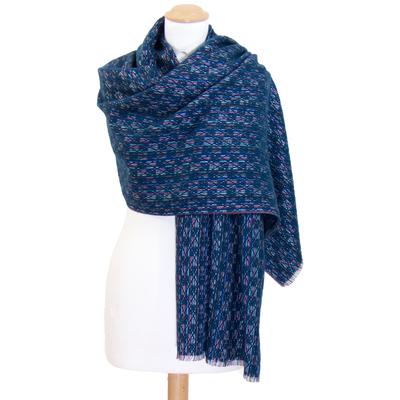 Châle laine bleu canard Inés