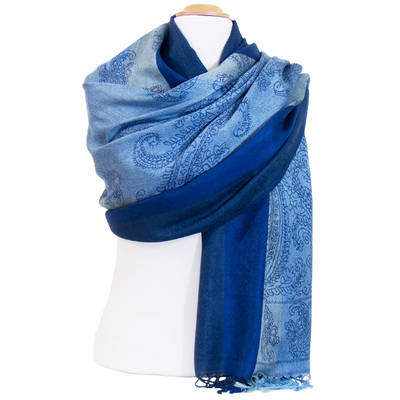 Etole pashmina bleu marine rayures motifs cachemire