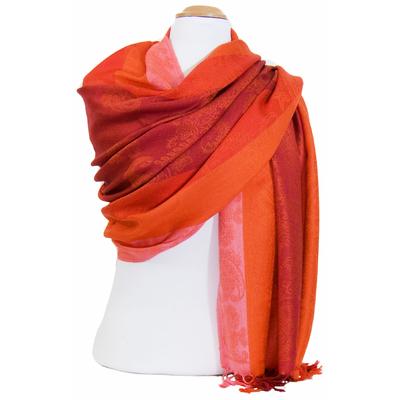 Etole pashmina orange rayures motifs cachemire