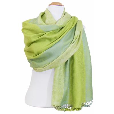 Etole pashmina vert anis rayures motifs cachemire