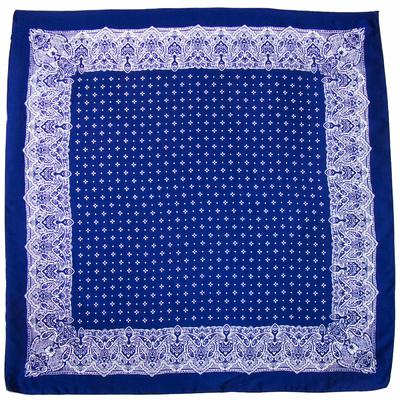 Carré en soie carré bleu marine frise