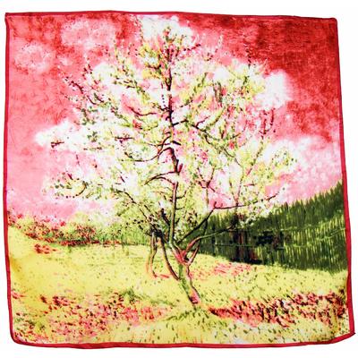 Carré de soie rose paysage