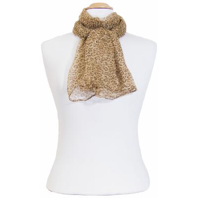 Foulard mousseline de soie beige léopard