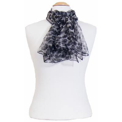 Foulard mousseline de soie noir léopard