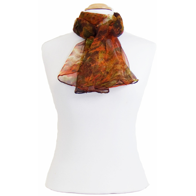 Foulard mousseline de soie orange Luli