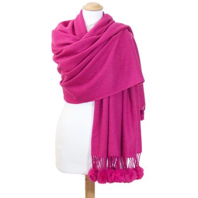 Etole rose fushia en laine et fourrure