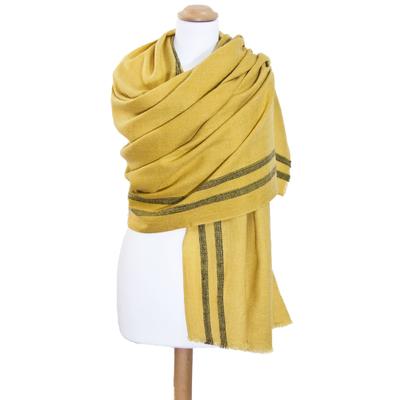 Etole laine fine jaune tissée avec rayures