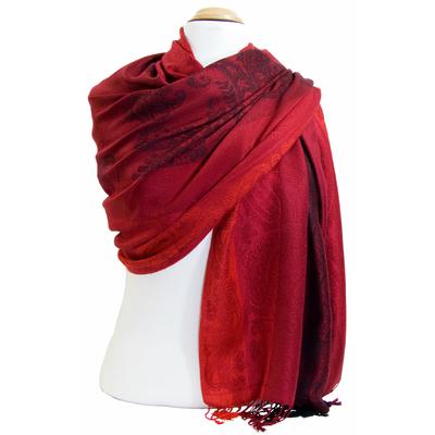 Etole pashmina rouge noir rayures motifs cachemire