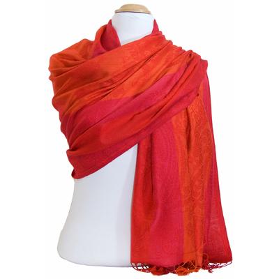 Etole pashmina rouge orange rayures motifs cachemire