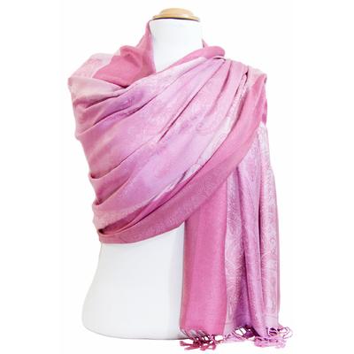Etole pashmina rose rayures motifs cachemire