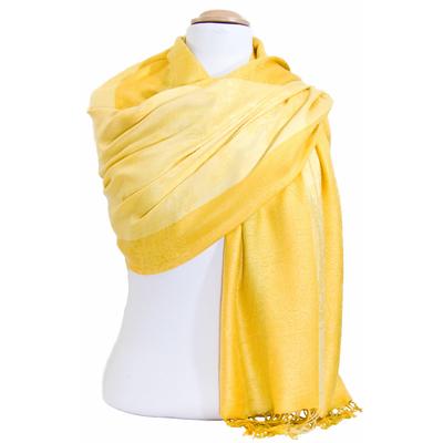 Etole pashmina jaune rayures motifs cachemire