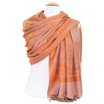 Etole pashmina orange motifs tissés beige