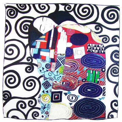 Carré de soie bleu L'accomplissement Gustave Klimt artysilk