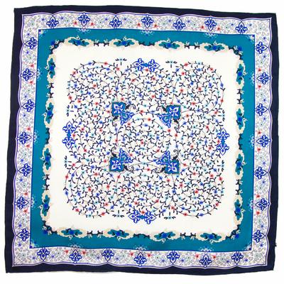 carré en soie bleu louise premium