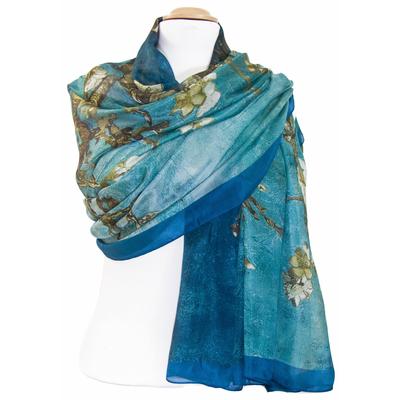 étole en soie bleu vert Eliza