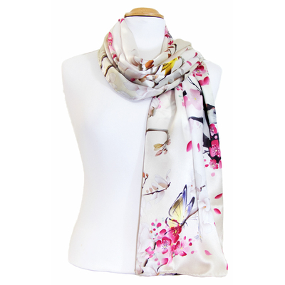 foulard écharpe soie gris perle kito