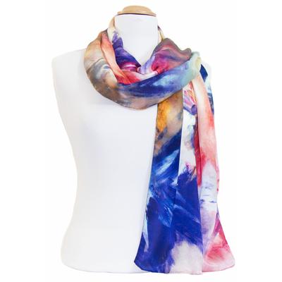 foulard écharpe soie bleu Pintina