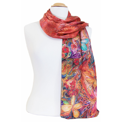 foulard écharpe soie rouge papillons