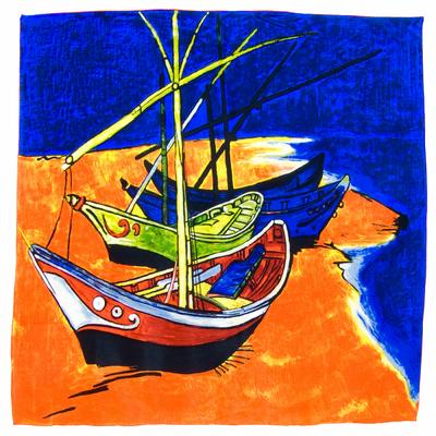 Carré en soie Barques des Saintes-Maries de la mer Van Gogh