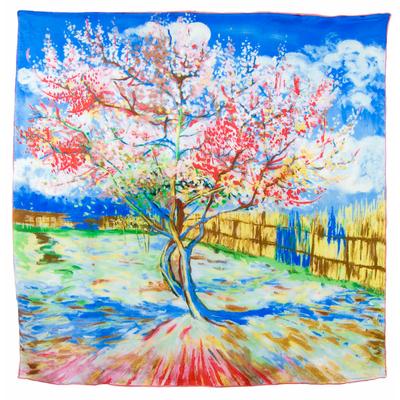 Carré en soie Le Pêcher en fleurs bleu Van Gogh