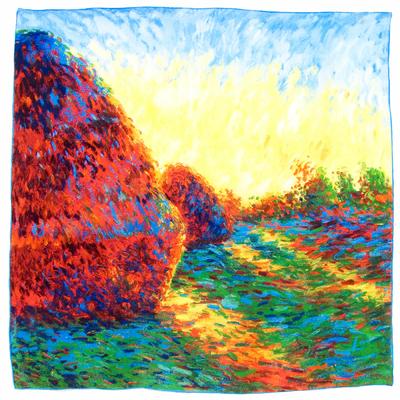 Carré en soie les meules à Giverny Claude Monet