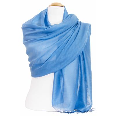Etole foulard bleu gris soie viscose Alex