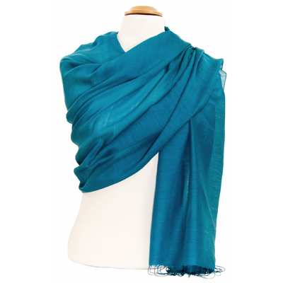 Etole foulard bleu paon soie viscose Alex