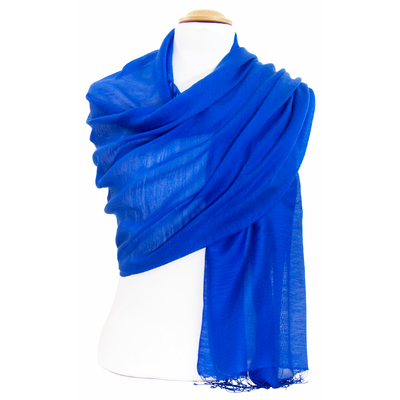 Etole foulard bleu vif soie viscose Alex