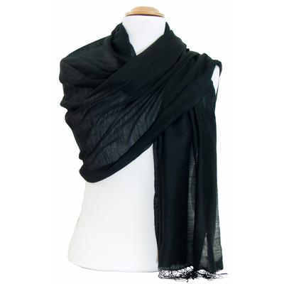 Etole foulard noir soie viscose Alex