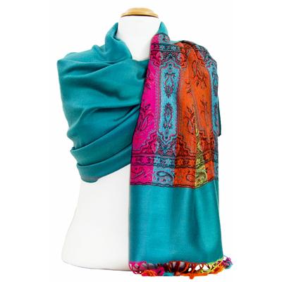 Etole pashmina émeraude tissage multicolore