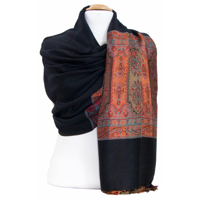 Etole pashmina noir tissage multicolore