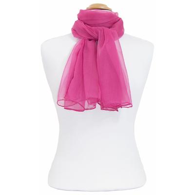 Foulard mousseline de soie rose cyclamen