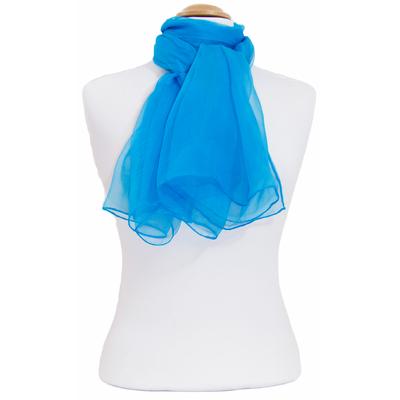 Foulard mousseline de soie bleu turquoise