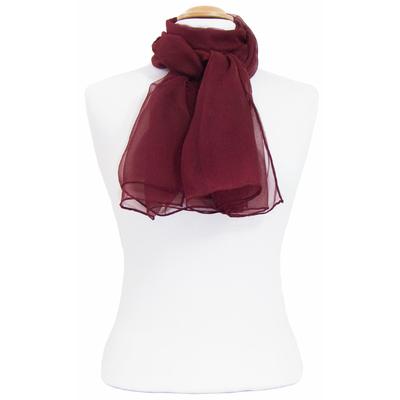 Foulard mousseline de soie rouge bordeaux