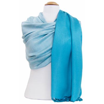 Etole pashmina bleu turquoise blanc réversible