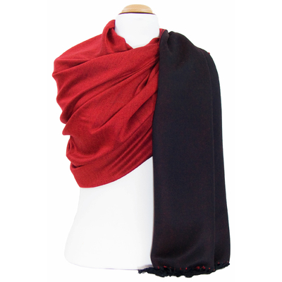 Etole pashmina noir rouge double face