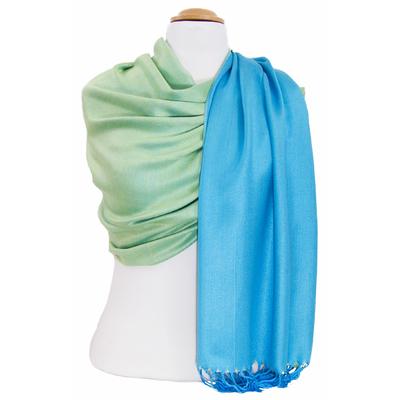 Etole pashmina bleu turquoise vert réversible