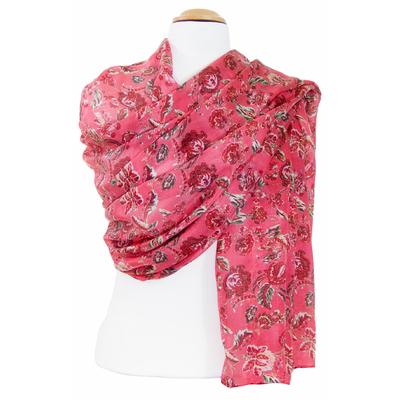 Etole en soie fleuri rose Adèlie