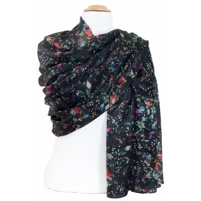 Etole en soie noir pétales Louisa