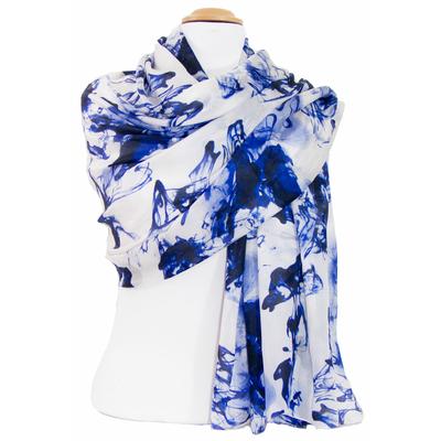 Etole en soie bleu marine Maddi